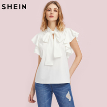 SHEIN Bow Tie Front Flutter Sleeve Blouse Summer Blouses for Women 2017 White Cap Sleeve Tie Neck Work Wear Blouse(China)