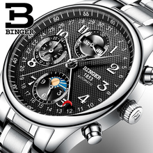 2017 NEW BINGER men's watch luxury brand Multiple functions Moon Phase sapphire Calendar Mechanical Wristwatches B-603-8 2(China)