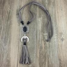 Women Long Neck Jewelry Vintage black stone moon pendant Necklace & Suede fringed tassel Boho Jewelry