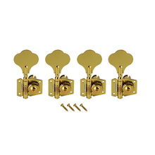 FLEOR 4PCS 4R in-line Vintage Open Electric Bass Guitar Tuners Machine Heads Golden 4R For 4 String Bass Tuning Pegs Keys(China)