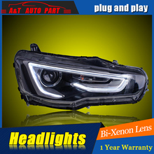 Car Styling For Mitsubishi Lancer EX headlight For Lancer EX LED head lamp Angel eye led DRL front light Bi-Xenon Lens xenon(China)