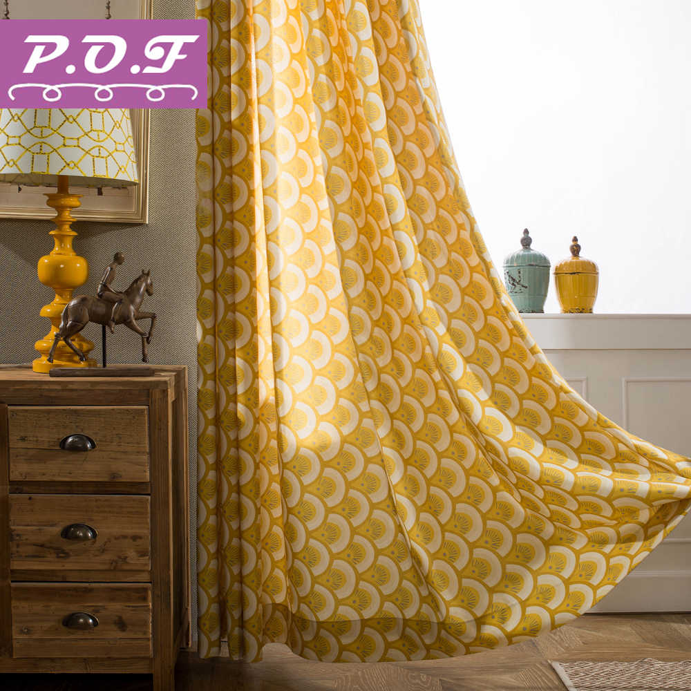 P.O.F QIUSHI Curtain for living room Newfashion printed curtain window treatment drapes Curtain for bedroom and matching sheer