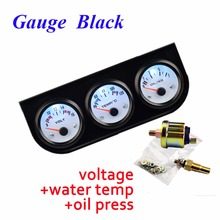 DRAGON GAUGE 52mm Car Guage Voltage/Water Temperature/Oil Press Gauges Black Holder Car Meters 3-In-1 Kit Triple Dashboard(China)