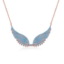 Necklace of KJ-SVN137, 925 silver rose gold plated Angel wings necklace,Top Turquoise, fashion neclace for Woman, friend's gifts(China)