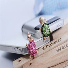Fashion mini 3.5mm animal green pink tortoise turtle anti dust phone earphone headset headphone ear audio hole jack plug cap