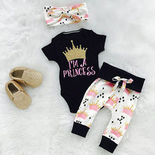 Newborn Baby Girls Crown Print Tops Romper+Pants Leggings 3pcs Outfits Set 0-18M