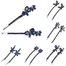 1Pair Retro Hairpins Vintage Women Girls Crystal Rhinestone Flowers Shaped Hair Clips Barrette Hairpins Clamp Hair Accessories(China)