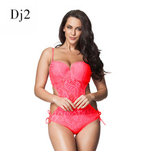 Buy Sexy Mesh Hollow Swimwear Women Floral Print One Piece Swimsuit High Cut Transparent Lace Swimming Suit Beachwear Plus Size