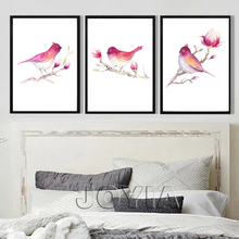 Minimalist Decoration Modern Birds Paintings Watercolor Red Birdie Branches Flowers Prints On Canvas Pictures Set Framed No