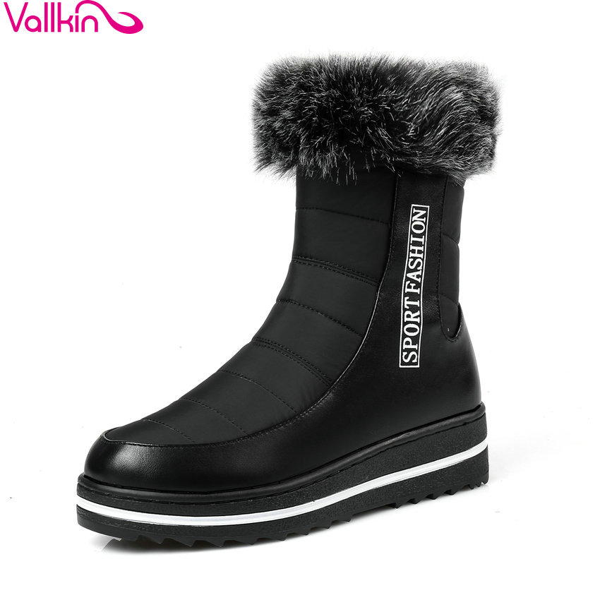 VALLKIN 2018 Cold Winter Western Women Snow Boots Wedges Med Heel Platform Ankle Boots Black Plush And Down Ladies Fashion Boots<br>