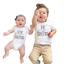 2017 Babies Brothers Matching Clothing Little Baby Boy Bodysuit Big Brother T-shirt Tops Letters Clothes(China (Mainland))