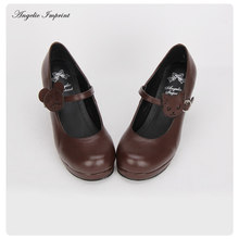 Lovely Kitty Straps Fantasy Heels Round Toe Brown Lolita Shoes Princess Girls Shoes(China)