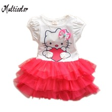 Cool Design Hello Kitty Dress Princess Anna Elsa Dress Girl Baby Elsa Costume Kids Princess Vestidos Infantis Dresses For Girls(China)