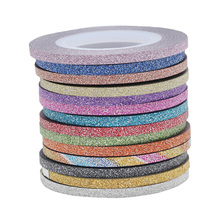 30rolls/Pack 3MM Glitter Adhesive Stripping Tape Nail Art Metallic Line Laser Shinning Sticker Tools Christmas Nail Decoration(China)