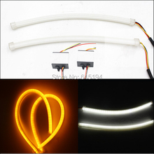 2PCS 60cm 12V Car Soft Turn Signal Headlight Soft Guide Strips Car Styling DRL Ture Blue Red White with Yellow Choose Lamp