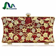 Milisente 2017 New Fashion Women Metal Gold Flower Pattern Party Bags Hard Case Evening Clutch Purses With Diamond Closure(China)