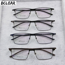 BCLEAR Men Titanium Alloy Eyeglasses Frame Male Eyewear Flexible Temples Legs IP Electroplating Material Spectacle Spring Hinge(China)