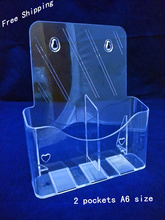 2pcs Clear A6 Two Pockets Plastic Brochure Literature Display Holder Racks Stand To Insert Leaflet On Desktop(China)