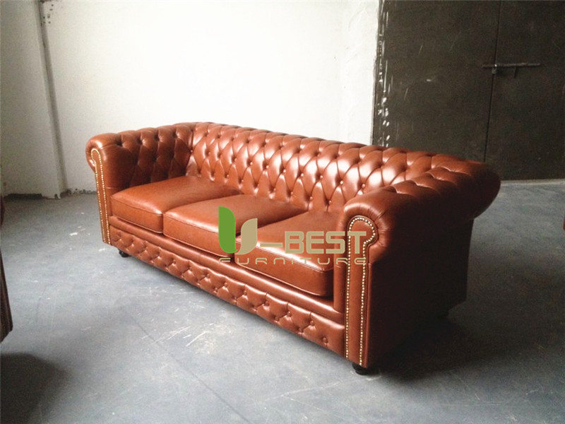 brown real leather chesterfield sofa living room sofa (2)