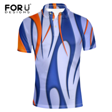 FORUDESIGNS Polo Shirt for Mens Pique Fabirc Breathable Summer Tee Geometric 3D Pattern Modern Classic Male Shirts(China)