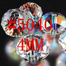 100Pcs/Lot 4mm 5040 AAA Top Quality Mixed Faceted Glass Crystal Rondelle Spacer Beads Jewelry Making Free Shipping #219-236