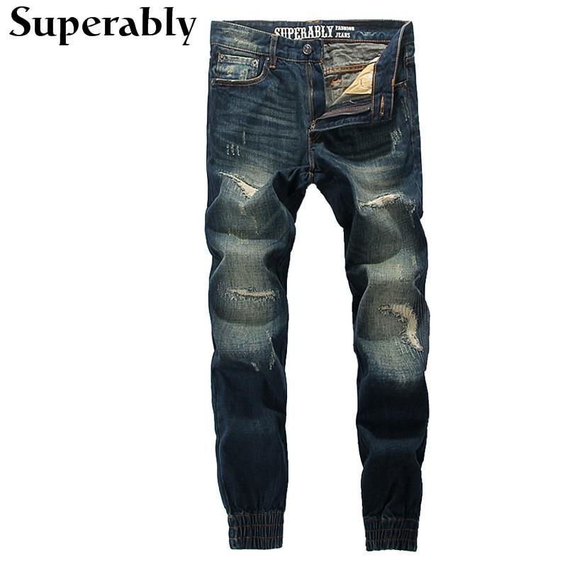 Superably Brand Jogger Jeans High Quality Destroyed Ripped Jeans Mens Pants Dark Color Denim Stripe Jeans Casual Trousers MaleÎäåæäà è àêñåññóàðû<br><br>
