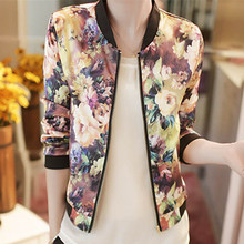 MUQGEW Korean Stand Collar Long Sleeve Zipper Floral Printed Bomber Winter Jacket Coat Women female ladies flower stylish coat