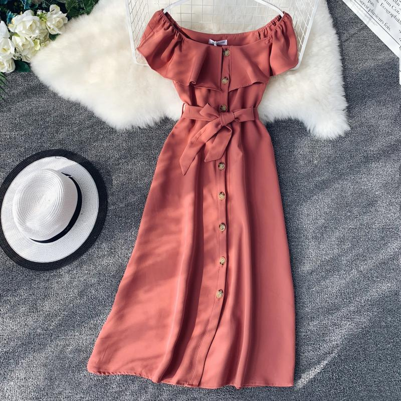 Women White Orange Casual Access Slash Neck Solid Color Single Breasted Vestidos E459 27 Online shopping Bangladesh