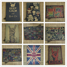 Keep Calm Rock and Roll Vintage Retro rock collection poster Bar Cafe poster decorative painting