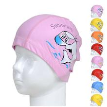 Unisex Kids Baby Boys Girls Cartoon Silicon Waterproof Swimming Cap Hat Elasticity Bathing Swim Cap