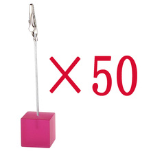 lot 50pcs shocking pink resin cube wire photo&card&note&desk&number&memo clip/picture holder,stand wedding place,holiday favor