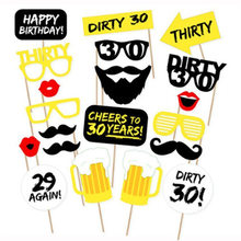 20pcs 30th Birthday Photo Booth Props Men Women 30 Years Happy Birthday Party Decorations Adult Photobooth DIY Photobooth Props(China)