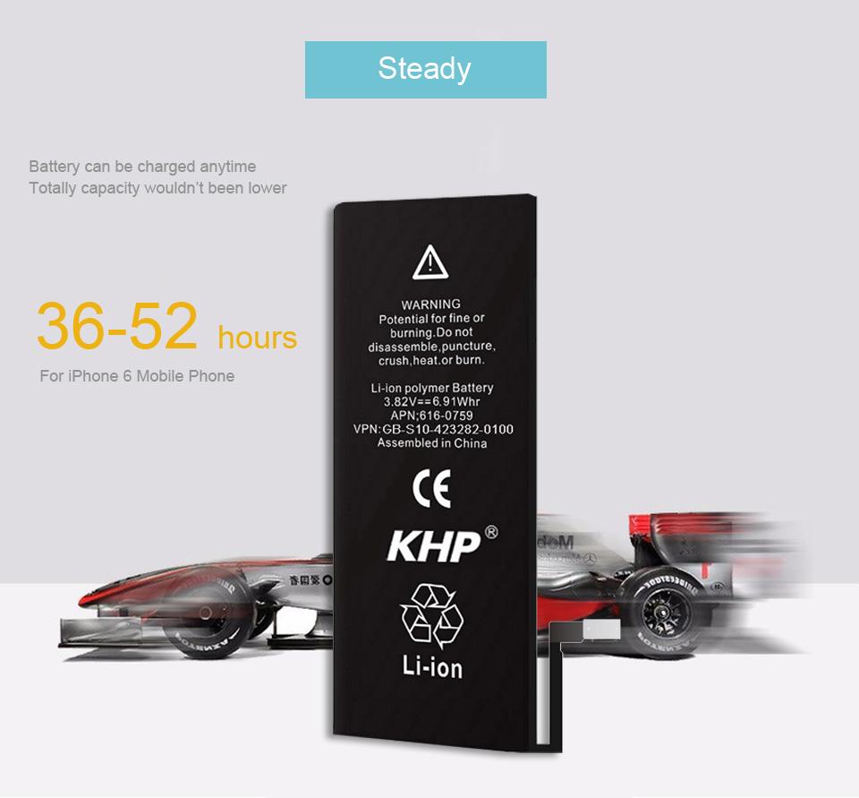 NEW 2017 100% Original KHP Phone Battery For iPhone 6 Capacity 1810mAh Repair Tools 0 Cycle Replacement Mobile Batteries Sticker (15)