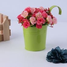 Big Size 10*16cm green color pure garden bucket tin box Iron pots flower metal Hanging Planter
