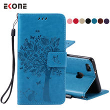 EKONE Tree Cat Embossed Flip Case For Huawei P9 Lite Case PU Leather Magnetic Wallet Stand Cover For Huawei Ascend P9 Case