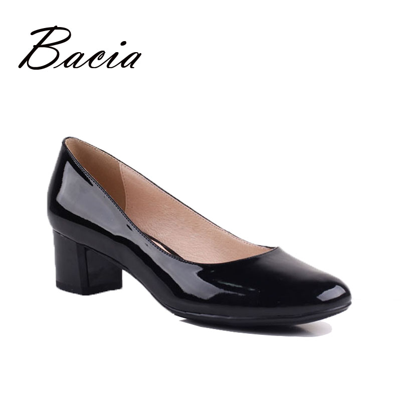 Bacia Black Genuine Leather woman shoes 2016 summer Square Heel Round Toe casual shoes High Quality Classical Womens Shoes VE004<br><br>Aliexpress