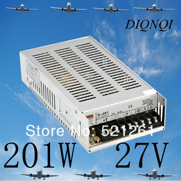 S-201-27 power suply 27v 201w ac to dc power supply ac dc converter switch adjustable output voltage<br>