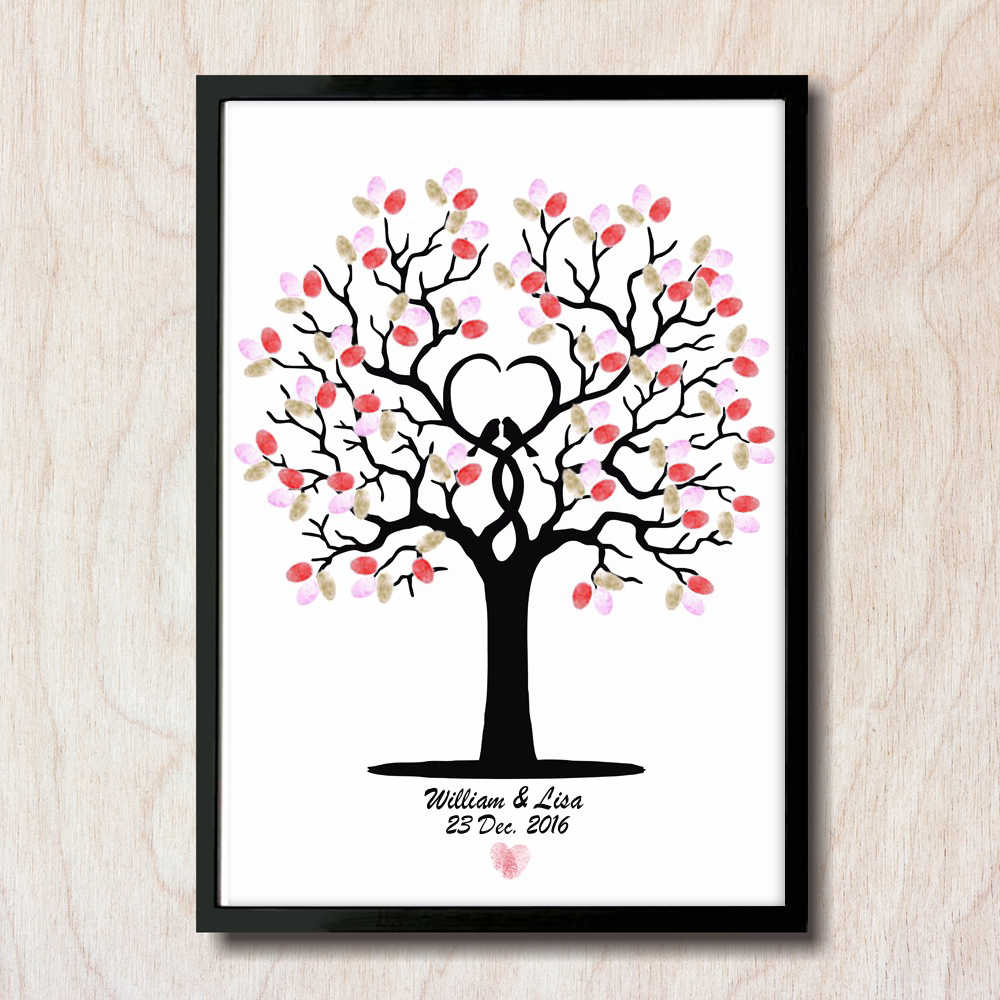 Free Personalized Custom Name And Date Wedding Tree Fingerprint DIY Guest Book Engagement Wedding Ceremony Party Unframed HK063