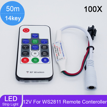 100pcs/lot LED RGB Controller Wireless RF 14key Digital for LED Strip WS2811 WS2812 WS2812B Controller DC 5V/7-12V/24V