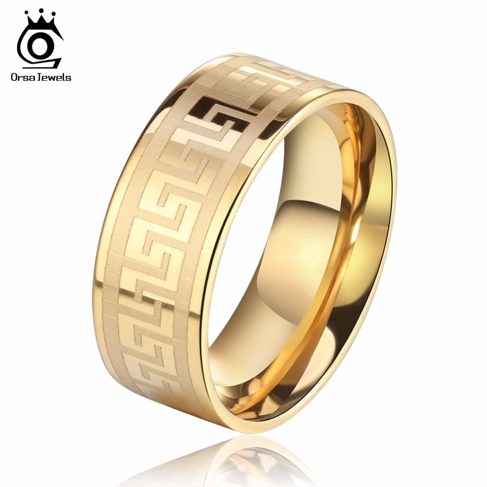 ORSA JEWELS Lead & Nickel Free 3 Color Wedding Bands Male Ring Stainless Steel Men's Jewelry for Party Wholesale GTR21(China (Mainland))