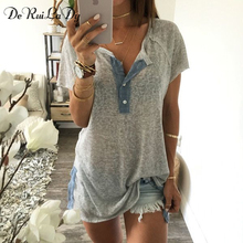 DeRuiLaDy 2017 Women Tops Series Micro-Transparent Short Sleeves Casual T Shirt Button Up Side Split Sexy Fashion Basic T Shirts