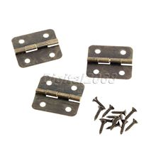12pcs Metal Bronze Hinges Furniture Hinge Kitchen Bedroom Living Room Cupboard Closet Wardrobe Hinge for Jewelry Boxes 18.5x16mm(China)