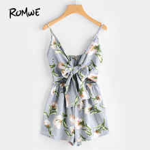 ROMWE impresión Floral recortada nudo Front Cami Romper Womens Romper Hollow Out sin mangas V cuello Romper Sexy(China)