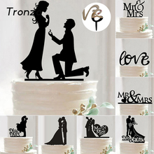 Tronzo Hot Sale Wedding Decoration Cake Topper Mr Mrs Acrylic Black Romantic Bride Groom For Wedding Cake Topper Party Favors