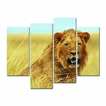 Wall Art Animals Lion Painting by Numbers Modern Wall Art Living Room Decoration Pictures Print Picture Canvas Unframed 4 Pieces