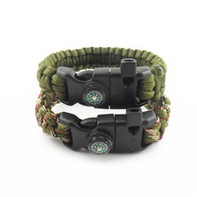 2016 new multifunctional Survival Bracelet paracord 550 rope Weaving Outdoor Bracelet With magnesium Flint Compass sos Whistle