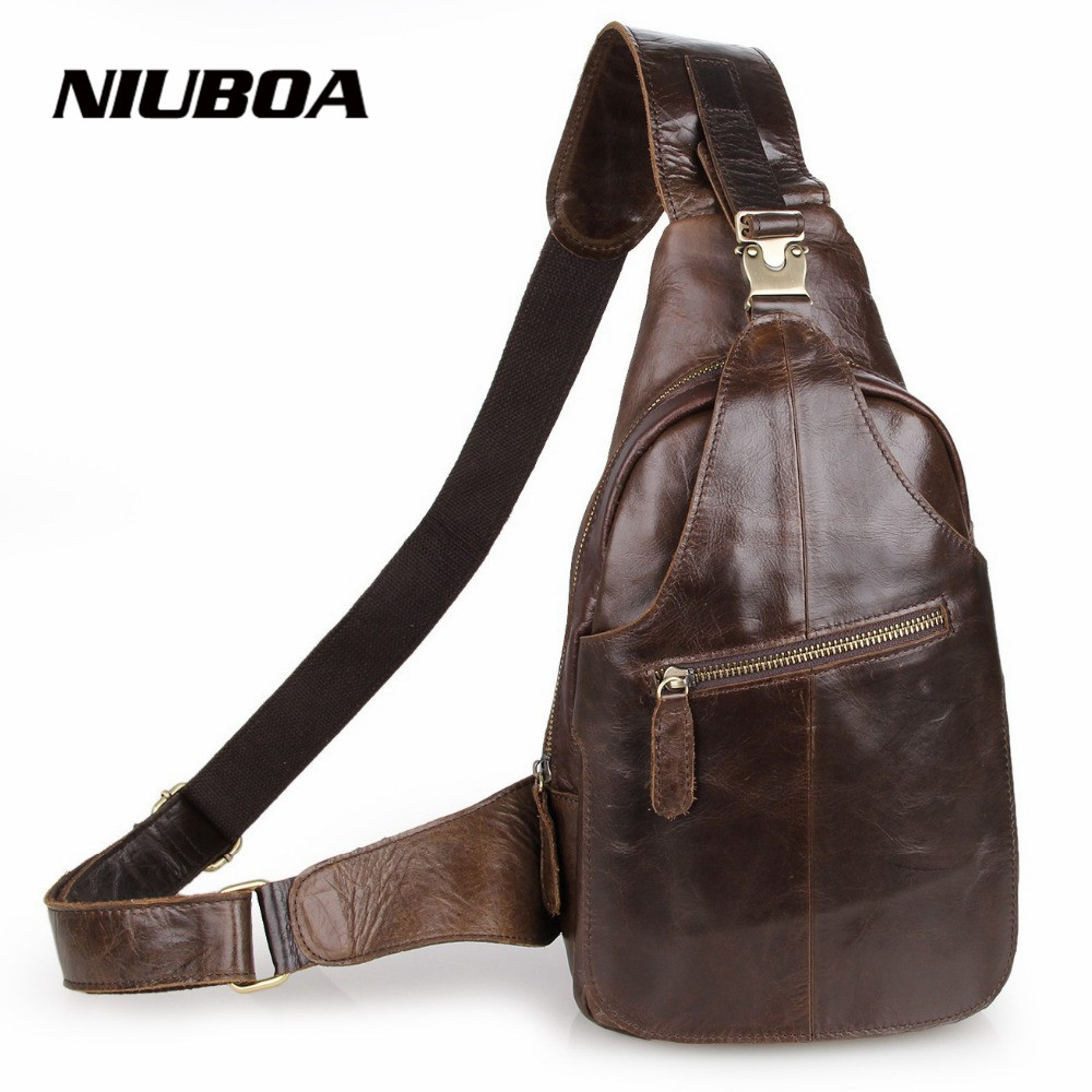 Fashion Style Genuine Leather Men Chest Pack Casual Small Bag CrossBody Shoulder Bag Leisure Travel Mini Cowhide Bag <br><br>Aliexpress