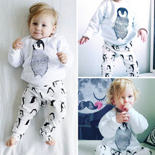 Newborn Cotton Cute Cartoon Boy Girl Baby Clothes Set penguin Printed T-Shirts Tops + Pants Children Clothing long Sleeve JY-213