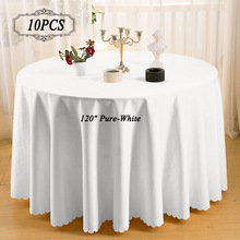 "10PCS/Lot Best Sale 100% Polyester Modern Design Round 120"" Hotel Restaurant Table Cloth White Wedding Tablecloth Table Covers"