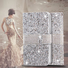Bling Crystal Rhinestone Diamond Flip Leather Case Cover For Samsung Galaxy Grand Prime G530 G530H Wallet Stand With Card Slot